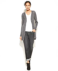 Eileen Fisher Long-Sleeve Ribbed Cardigan Sweater