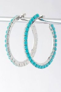 Turquoise Hoops   2 inches