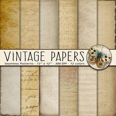 Old Paper Digital Paper, Digital Vintage Paper, Old Sheet Music Paper, Old Parchment Paper, Old Vintage Handwriting, Vintage Sheet Music