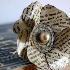 book flower pin