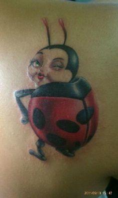 My ladybug tattoo done by Adrian Lazo at Buena Suerte Tattoo in Pharr, Texas