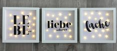 beleuchteter Bilderrahmen mit Spruch Wanddeko LED Rahmen