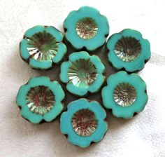 Six 14mm table cut, carved, opaque turquoise green picasso Czech glass beads; Hawaiian Flower beads C6906