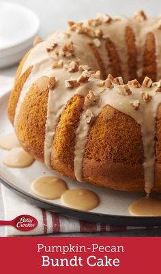 An easy, yet impressive dessert that's perfect for the holiday season and beyond! Pumpkin makes for an incredibly moist and flavorful cake, and pecans and a brown sugar-nutmeg glaze are the finishing touches that make this dessert truly irresistible.