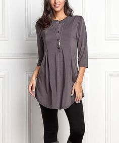 Take a look at this Charcoal Notch Neck Button-Front Tunic - Plus today!