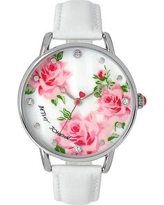BJS SLIM WHITE AND SILVER FLORAL WATCH WHITE accessories jewelry watches fashion