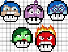 Inside Out mushroom characters perler bead patterns