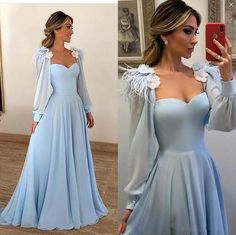 Long Sleeves Elegant Sky Blue Prom Dresses Feathers Flowers Evening Dresses Online - Party Dresses and Party Outfits Evening Dresses Online, Blue Evening Dresses, Prom Dresses Long With Sleeves, Prom Dresses Blue, Prom Party Dresses, Pretty Dresses, Evening Gowns, Beautiful Dresses, Formal Dresses
