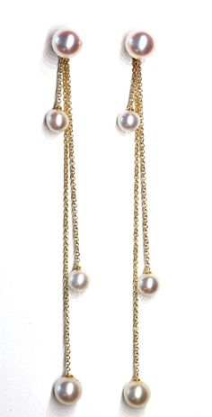 Deleuse Fine Jewelry & Couture - Janet Deleuse Designer Chain Drop Pearl Earrings