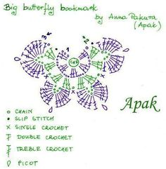 ergahandmade: Crochet Butterfly Bookmarks + Diagram + Free Pattern