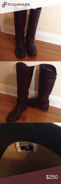"""Frye Leather Riding Boots Beautiful boots, worn only a few times. Oil finish, circumstance. Is 17"""" Frye Shoes"""