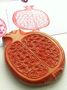 pomegranate hand carved rubber stamp fruit stamp by StudioMo