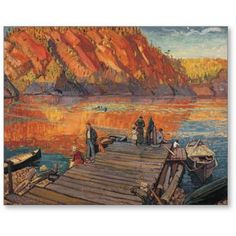 size: Stretched Canvas Print: Bon Echo Canvas Art by Arthur Lismer : Artists Using advanced technology, we print the image directly onto canvas, stretch it onto support bars, and finish it with hand-painted edges and a protective coating. Tom Thomson, Emily Carr, Group Of Seven Artists, Group Of Seven Paintings, Canadian Painters, Canadian Artists, Jackson, Painting Edges, Print Artist