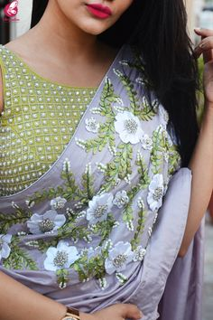 Buy Lavender Grey Pure Silk Floral Ribbon Handwork Saree – Sarees Online in Indi… Buy Lavender Grey Pure Silk Floral Ribbon Handwork Saree – Sarees Online in India Tussar Silk Saree, Chiffon Saree, Pure Silk Sarees, Organza Saree, Saree Blouse Neck Designs, Fancy Blouse Designs, Floral Ribbon, Ribbon Art, Silk Ribbon