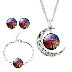 Floating Rainbow Tree - Three Piece Set with Moon Pendant NecklaceExcited to be offering this beautiful combination in 2017! Welcome the Floating Tree Three Pie