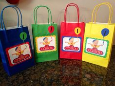Having a Caillou Birthday Party? Look no further for your custom favor bags! These customized Caillou favor bags can be used for birthday