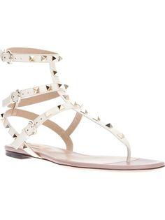 510f013670741 White studded strapped sandal Valentino Studded Sandals