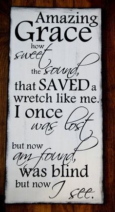 Scripture Art Wooden Sign Amazing Grace how sweet by allisonhoopes, $45.00