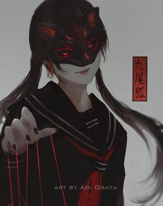 Kitsune by Aoi Ogata Dark Anime Girl, Cool Anime Girl, Beautiful Anime Girl, Anime Art Girl, Fille Blonde Anime, Fille Anime Cool, Art Anime Fille, Art Manga, Manga Girl