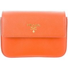 Pre-owned Prada Saffiano Box Clutch ($425) ❤ liked on Polyvore featuring bags, handbags, clutches, orange, hard clutch, leather clutches, leather handbags, genuine leather handbags and orange handbags
