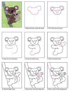 Easy Drawings Draw a Koala Bear · Art Projects for Kids - The only thing cuter than a koala is a koala and a baby. This koala drawing may look pretty detailed, but it's really just one shape drawn in two sizes. Drawing Lessons, Art Lessons, Drawing Projects, Drawing Ideas, Drawing For Kids, Art For Kids, Bear Drawing, Art D'ours, Classe D'art