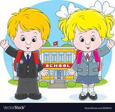 Schoolchildren before a school vector image on VectorStock Animation Schools, School Frame, Girls Clips, Girl Clipart, School Boy, School Children, School Decorations, Autumn Activities, Drawing For Kids