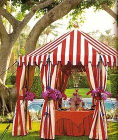 striped tent.