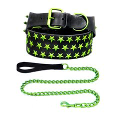 Starred Leather Set XXL Lime by Platinum Pets