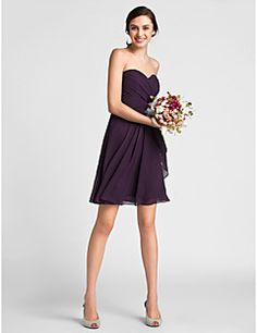 Sheath/Column Sweetheart Knee-length Chiffon Bridesmaid Dress Save up to 80% Off at Light in the Box using coupon and Promo Codes.