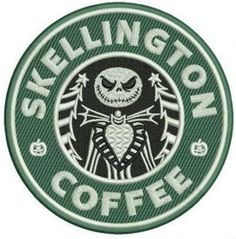 Embroidered Faux Starbucks Skellington Coffee Patch Iron On / Sew