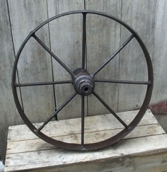 Antique Primitive Steel Implement Wheel Garden Cabin Decor Tractor Cast Iron Old | eBay