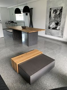 The concrete coffee table with the dining table made of solid wood with concrete base frame. The light oak fits perfectly to the concrete tone in dark gray. Coffee Table With Seating, Concrete Coffee Table, Concrete Wood, San Francisco Houses, Home Coffee Stations, Farmhouse Lighting, Light Oak, Farmhouse Furniture, Wooden Tables