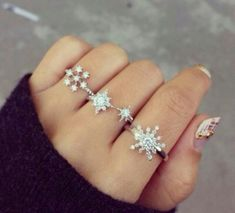 Jewels: silver rings, snowflakes, pretty, rings, cute, jewelry ...