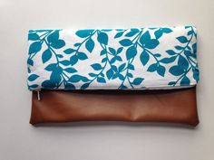 Teal Leaf Print and Faux Brown Leather Foldover Clutch