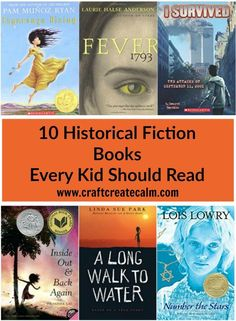 10 of the best historical fiction books for kids. Get kids excited about history with these books about kids during historical events. 10 of the best historical fiction books for kids. Get kids excite Historical Fiction Books For Kids, History Books For Kids, Fantasy Books For Kids, Best History Books, Historical Pictures, Good Books, Books To Read, Children's Books, Homeschool Books