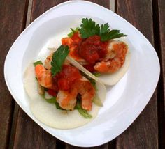 Shrimp Tacos with Jicama Tortilla - Hispanic Kitchen