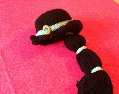 Princess Jasmine crochet hat/wig by RisenDesign on Etsy Crochet Kids Hats, Crochet Beanie, Crochet Gifts, Cute Crochet, Crochet Yarn, Knitted Hats, Princess Jasmine Hair, Disney Baby Costumes, Yarn Wig