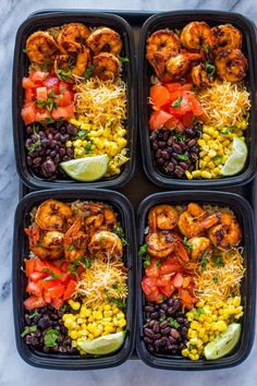 Insanely delicious spicy taco spiced shrimp bowls loaded with cheese, black beans, corn, brown rice and tomato. Make a week's worth of lunch in under 30 minutes. Shrimp tacos on a weekday jus…