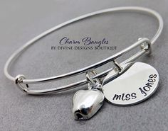 A personal favorite from my Etsy shop https://www.etsy.com/listing/233036536/personalized-teacher-gift-bangle
