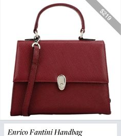 There are two Enrico Fantinni bags that steal the show. This Oxblood elegant lined and constructed purse looks three times its price of only $219.