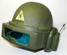 """Monkey Division helmet from Remco Toys, circa 1964. The visor could move up & down, the """"radio"""" and antenna were strictly for show; but it did make you look cool with the chin cup..."""