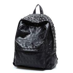 New Fashion Women PU kpack School bags Travel Skull Punk Rivet backpack for Teenage Girls Mochila feminina B15271Leather bac