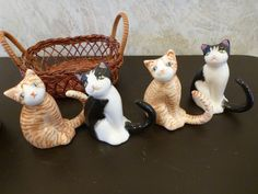 Lot for Kitty Cat Lover China Ceramic 8 Figurines Basket Crock Sitting Lying | eBay