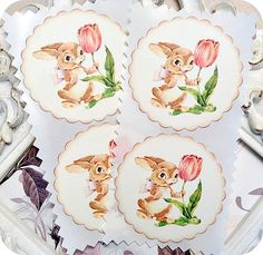 NEW  Bunny with Tulip Stickers / Seals  by LittlePaperFarmhouse, $5.95
