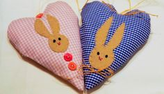 Fabric heart with felt easter bunny ornament set of 2, blue and pink, checked, easter decor, Housewarming home decor