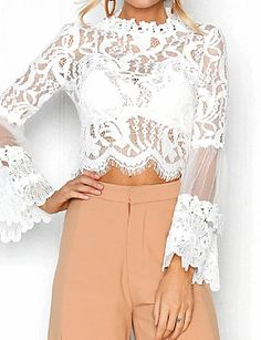 2019 New Arrival Blouses Women's Slim Blouse - Solid Colored White M Blusas Muje Dress Code Casual, Bell Sleeve Crop Top, Maxi Styles, Yellow Blouse, Lace Tops, White Long Sleeve, Sensual, Latest Fashion For Women, Types Of Sleeves