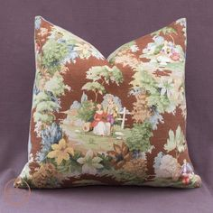Large Cushion in vintage Sanderson Toile fabric