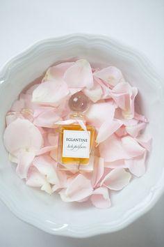 Eglantine Rose Parfum in a bowl of fresh pink fragrant rose petals