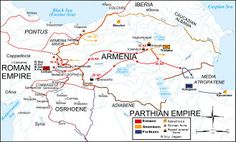 Troop movements during the first two years of the Roman-Parthian War. (58-63 AD)