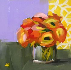 "Angela Moulton: ""flowers no 4"", original still life oil"